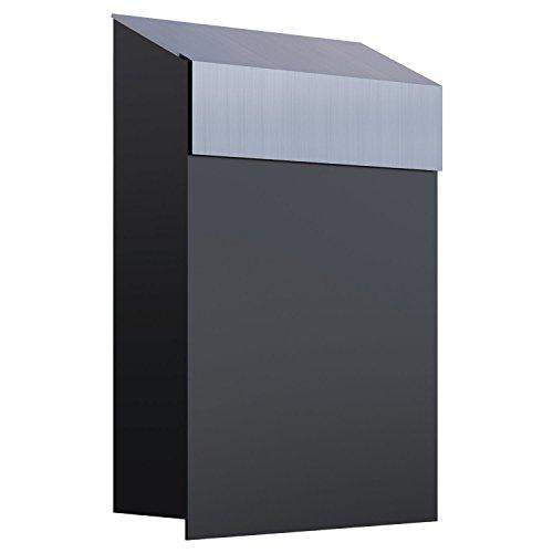 Brievenbus, design muurbrievenbus baby box zwart/roestvrij staal - Bravios
