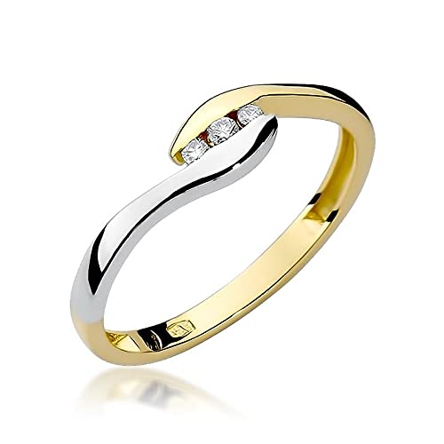 Anillo de compromiso para mujer, oro 585 de 14 quilates, diamantes naturales y brillantes, 48 (15.3), Piedra., Diamond,