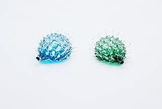Lampwork COLLECTIBLE MINIATURE HAND BLOWN Art GLASS Small Porcupine, Green Blue FIGURINE