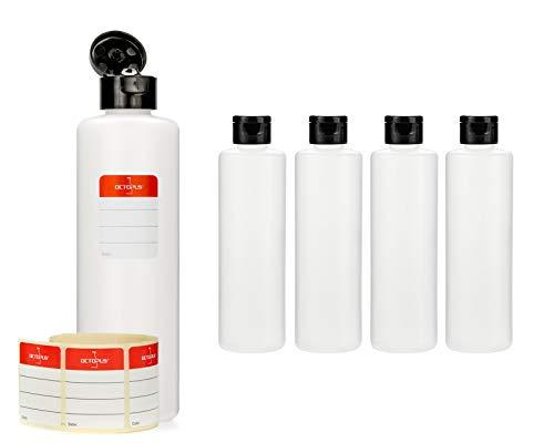 Octopus 5 x 250 ml Kunststoffflaschen, HDPE Plastikflaschen mit schwarzem Klappverschluss, Leerflaschen mit schwarzem Scharnierverschluss, Rundflaschen inkl. 5 Beschriftungsetiketten