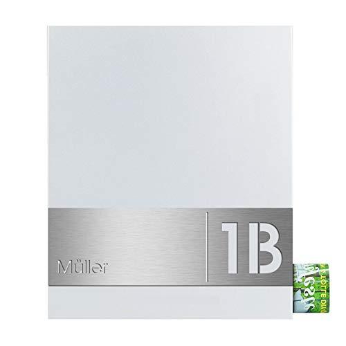 Design-Briefkasten mit Zeitungsfach signal-weiß (RAL 9003) MOCAVI Box 111R Postkasten mit Hausnummer und Name V4A-Edelstahl graviert modern groß DIN A4
