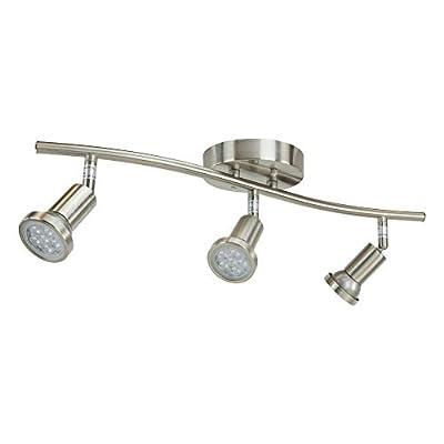 DND 3-Light Adjustable LED Track Lighting Kit - Curved - GU10 LED Bulbs Included. CE2002-LED-SN (Satin Nickel LED)