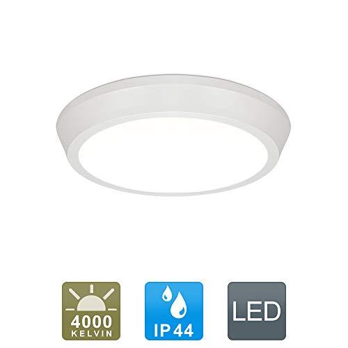 LED Deckenleuchte IP44 Wasserfest 12W 1280lm Neutralweiß für Badezimmer Wohnzimmer Flur Küche Schlafzimmer Balkon Korridor Büro usw.(Weiß)