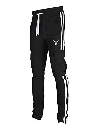 SCREENSHOT-S41900 Mens Hip Hop Premium Slim Fit Cargo Pocket Track Pants - Athletic Jogger Bottoms with Side Taping-Black-Medium
