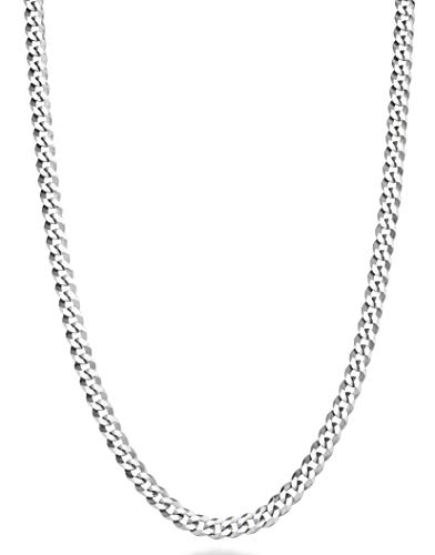 Miabella Solid 925 Sterling Silver Italian 3.5mm Diamond Cut Cuban Link Curb Chain Necklace for Women Men, 13+2, 16, 18, 20, 22, 24, 26, 30 Inch Made in Italy (20 Inch)