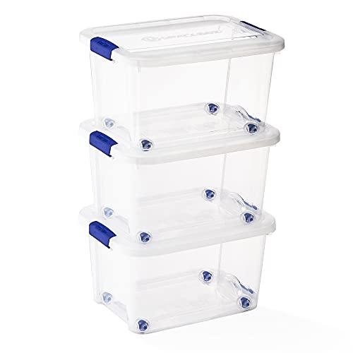 USE FAMILY Space Box. 3 Cajas de almacenaje plastico transparente Apilables- 51x39x28 cm| Caja Organizador con ruedas (35 L, Sin Bandeja)