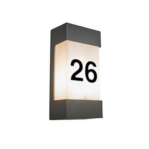 QAZQA Modern Außen Wandleuchte anthrazit mit Hausnummer IP54 - Tide V/Außenbeleuchtung Aluminium/Kunststoff Rechteckig LED geeignet E27 Max. 1 x 18 Watt