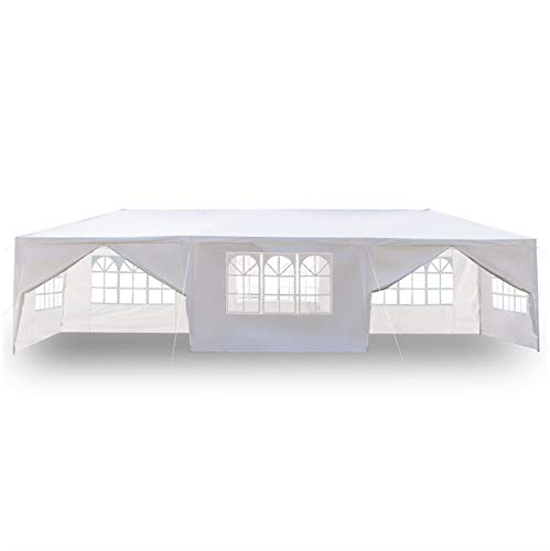 SPARSIFOLIA Emergency Tent Survival Shelter; Waterproof Eight-Sided Tent Heavy Duty Canopy Patio Tent Outdoor Gazebo with Spiral Tubes&Two Doors;30FT x 10FT;White