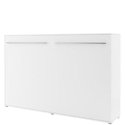 Schrankbett Concept PRO Horizontal, Wandklappbett, Bettschrank, Wandbett, Schrank mit integriertem Klappbett, Funktionsbett (120 x 200 cm, Weiß, Horizontal)