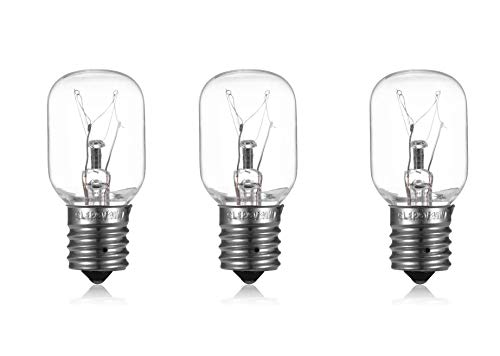3 Pack 40 Watts 8206232A Microwave Light Bulb 125v 40w E17 Fits for Whirlpool Maytag GE Amana Over The Range Hood Microwave, Dimmable Appliance Light Bulb