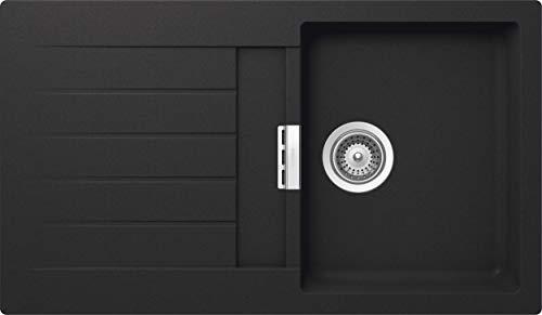 SCHOCK Küchenspüle 86 x 50 cm Primus D-100 Onyx - CRISTALITE dunkelgraue Granitspüle ab 45 cm Unterschrank-Breite