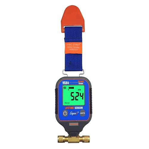 Vuotometro digitale portatile/micron (intervallo: da 0 a 19000 micron) Supco VG64 per sistema di refrigerazione, pompe per vuoto con tubo e cinghia di INSTRUKART