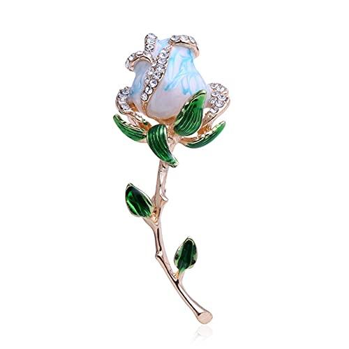 COLORFULTEA Broche De Rosa De Champán, Alfileres De Esmalte De Diamantes De Imitación para Dama, Cumpleaños, Regalo del Día De San Valentín, Fiesta, Vestido De Boda, Decoración, Joyería
