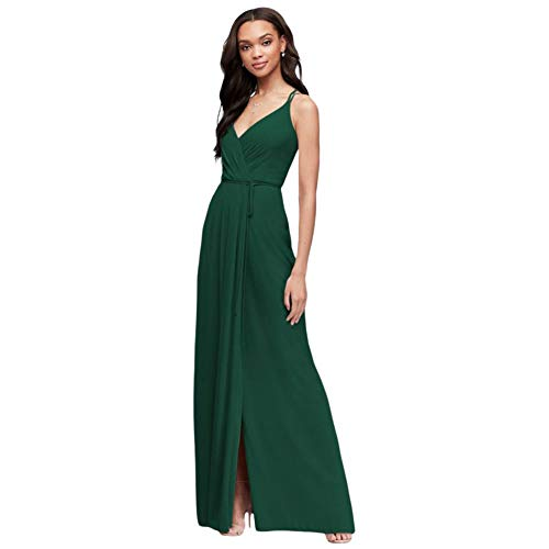 David's Bridal Double-Strap Long Georgette Bridesmaid Wrap Bridesmaid Dress Style F19755, Juniper, 16