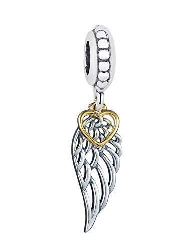 Abalorio de alas de ángel de Navidad, plata de ley S925, compatible con pulseras Pandora de mujer