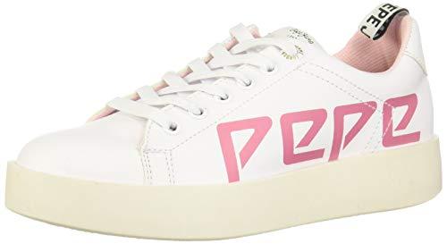 Pepe Jeans Dama/Joss Zapatillas de Tenis para Mujer, Color Blanco/Rosa, 24