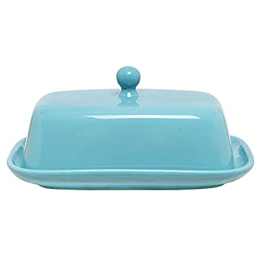 MyGift Home Decorative Ceramic Butter Dish with Lid Cover, Turquoise Blue