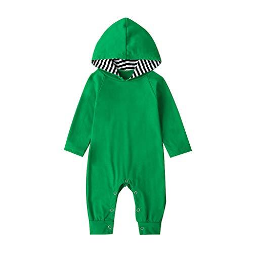 MEIbax Otoño Moda Color Sólido Pantalones de Peto Mameluco Manga Larga Niñas Bebés bebé niño Mono Estampado De Rayas Ropa de una Pieza Body Bebé-Niños (Verde, 80)