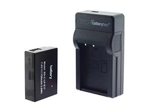 Batterytec® Batería de Repuesto para Canon cámara LP-E17, 200D, 77D, 750D, 760D, 800D, 8000D, Digital SLR cámara y Cargador portátil Micro USB [Recargable,750mAh,12 Meses de garantía]