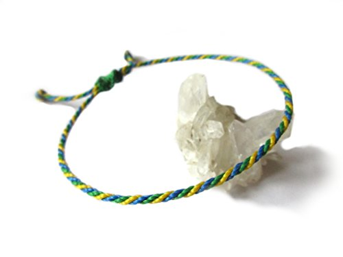 Green Blue Yellow String/Cord Bracelet. Brazil Brazilian Flag Color Macrame Unisex Simple Braided Cord/Thread Wristband Handmade with Waxed Cord. Waterproof and Ajustable. #P1