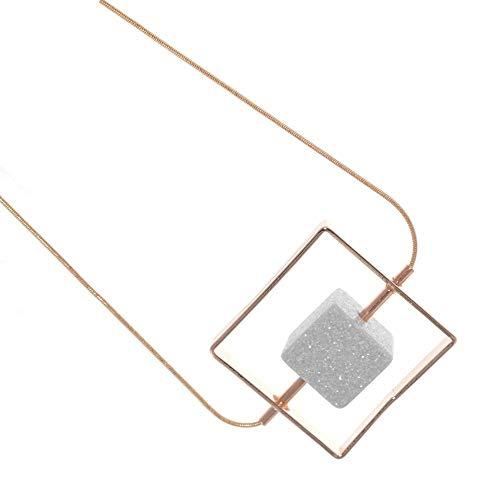 Venta: Fashion joyas: oro rosa rectangular piedra Terrón de azúcar collar (S218)