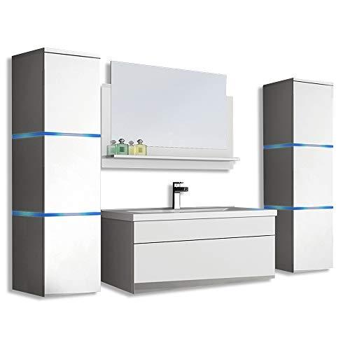 Home Deluxe - Badmöbel-Set - Wangerooge Big weiß - XL - inkl. Waschbecken und komplettem Zubehör - Breite Waschbecken: ca. 80 cm