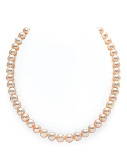 THE PEARL SOURCE - Pfirsischfarbene Perlenkette AAAA 8-9mm Süßwasser Zuchtperlen Halsketten für Frauen - Perlen Kette Rope - Länge 129cm - mit Weißgoldverschluss