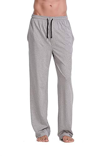 CYZ Men's 100% Cotton Jersey Knit Pajama Pants/Lounge Pants-Greymelange-XL