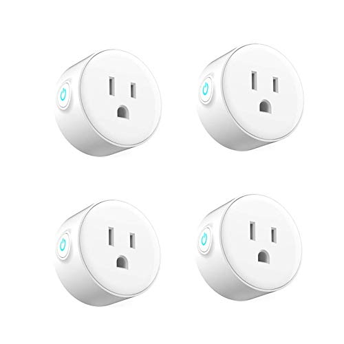 WOOSTAR WIFI Smart Plugs, Mini WiFi Outlet Compatible with Alexa, Google Assistant for Voice Control, No Hub Required, WiFi Enabled Remote Control, Timer Function-4 Pack