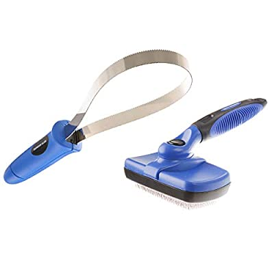 BOTH WINNERS Dog Shedding Brush Kit, Self Cleaning Slicker Brush,Shedding Blade for Dogs and Cats, Grooming Kit with Ergonomic Handle, 2 Packs from BOTH WINNERS