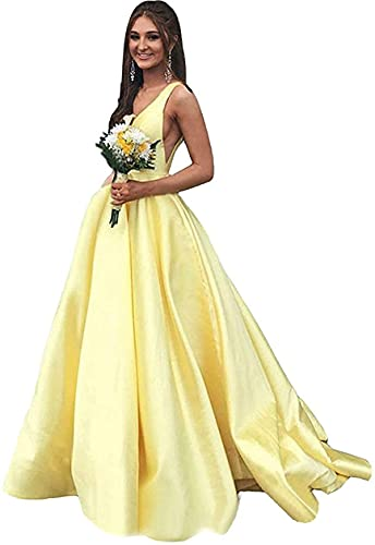 Rjer V Neck Prom Dresses Long A line Satin Ball Gowns with Pockets for Women Formal 2020 Yellow Size 12