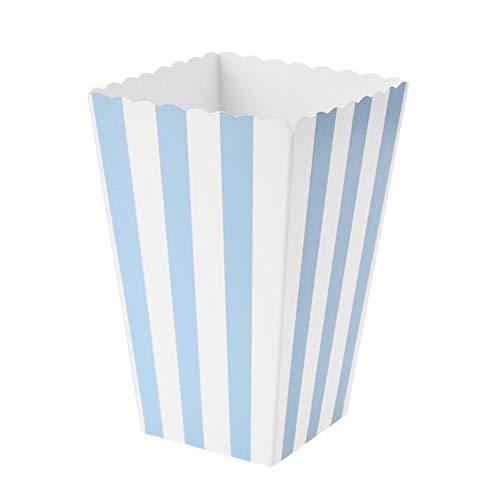 VAINECHAY 12PCS Cajas de palomitas Carton Maíz Caja Papel Pequeña Dulces Papas Fritas Fiesta Cumpleaños para Niños Caja Regalo Comida Bocadillos Titulares Contenedor Onda Dorada Azul