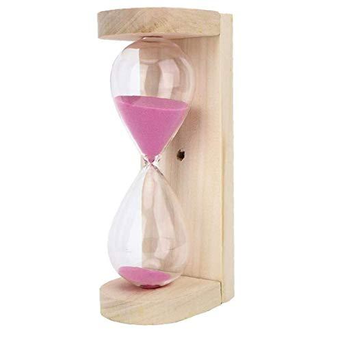Sauna Sanduhr Timer, 15 Minuten Hochtemperaturbeständige Holz Uhr Sand-Timer-Taktgeber für Sauna Spa Room Rosa