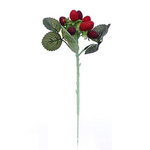 ZLJZZ 1Pcs Piante Artificiali Lampone Simulazione Frutta Plastica Bacca Fragola Fiore Decorativo per La Decorazione del Giardino di Casa Home A