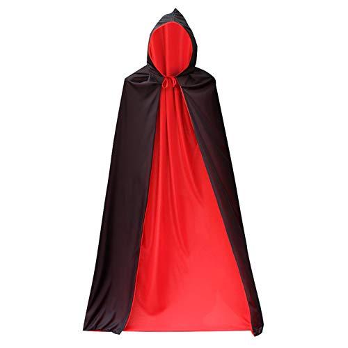 Creëer Idee Halloween Kostuum 170cm Zwart Rood Vampier Cape Dracula Duivel Hoody Mantel Fancy Kostuum gedragen aan beide zijden van dubbele mantel voor Unisex