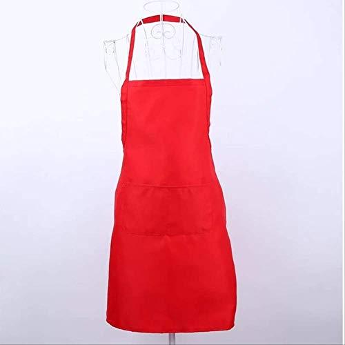 mhde Aprons Pure Color Keuken Schort Nieuwe Effen Unisex Koken Horeca Werk Schort Tabard Met Twin Dubbele Pocket Rood