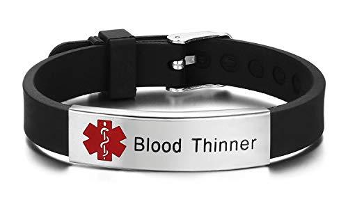 JF.JEWELRY Pre-Engraved Epilepsy Medical Alert ID Bracelet for Men Women Silicone Band Adjustable-Black