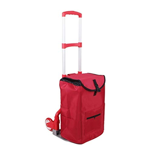 CENPEN Flower Stand Lightweight Shopping Trolley Collapsible Aluminum Trolley Portable Luggage Cart With 2 Wheels Red Storage Bag Shelf Rack