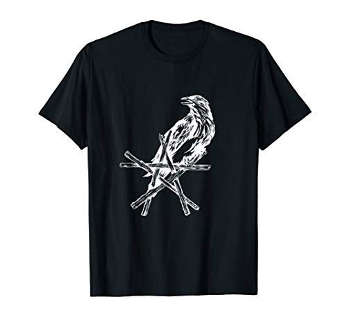 Crow Star Raven Pentacle Pentagram Wicca Witchcraft Shirt