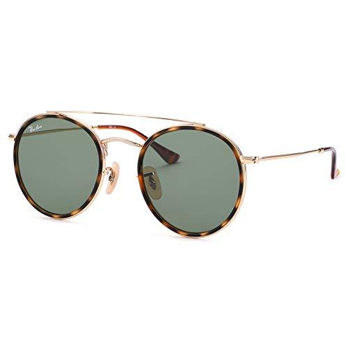 Pro Acme Gafas de sol redondas pequeñas de doble puente para mujeres y hombres 100% lente de cristal real, verde (Gold/Green Classic g-15), Small