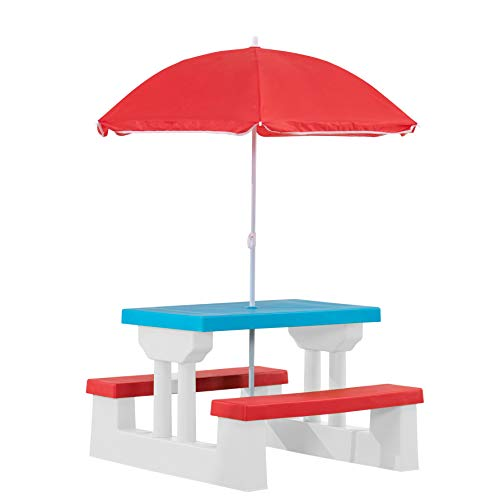 AmazonBasics Plastic Multicolored Kids Outdoor Table with Umbrella  Red/White/Blue