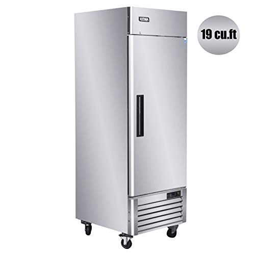 KITMA 27'' Single Door Reach in Commercial Refrigerator - 23 Cu. Ft Stainless Steel Heavy Duty Upright Fridge for Restaurant