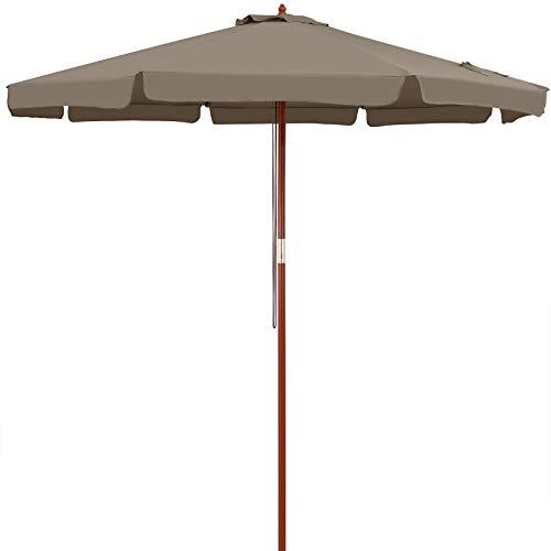 Kingsleeve Sonnenschirm 330 cm Groß Holz UV Schutz 50+ Taupe Rund Balkon Garten Terrasse Marktschirm Gartenschirm