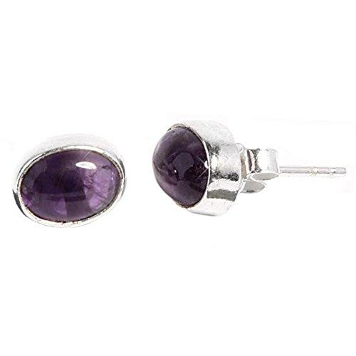 Chic-Net Silberohrstecker oval Ohrringe Ohrstecker Damen Ohrring Stecker 925er Sterling Silber oval Amethyst