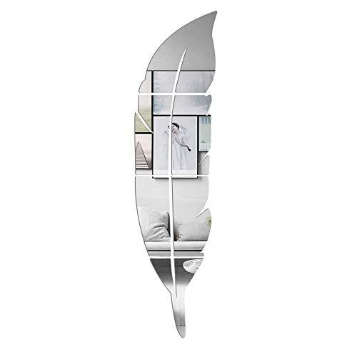 LZYMSZ 3D specchio acrilico Wall Decor Stickers, 1PC Piuma a forma di set DIY autoadesivo Wall Art Decals, decorazioni per la casa per il soggiorno, camera da letto, bagno, casa colonica (argento)