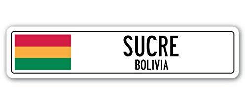 TNND New Sucre Bolivien Straßenschild Bolivianische Flagge Stadt Land Straßenschild Straßenschild 10,2 x 40,6 cm