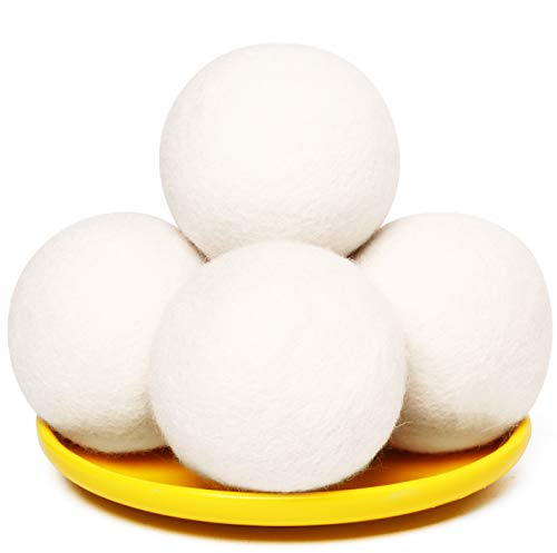 Wool Dryer Balls Organic XL 2.95' New Zealand Wool Reusabel Natural Fabric Softener Laundry Handmade Wool Dryer Balls Dryer Sheets Alternative for Baby Safe Hypoallergenic