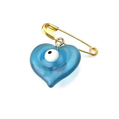 Broche y alfiler de corazón azul para mujer, alfileres, botones, chaqueta, cuello, solapa, insignia, mal de ojo