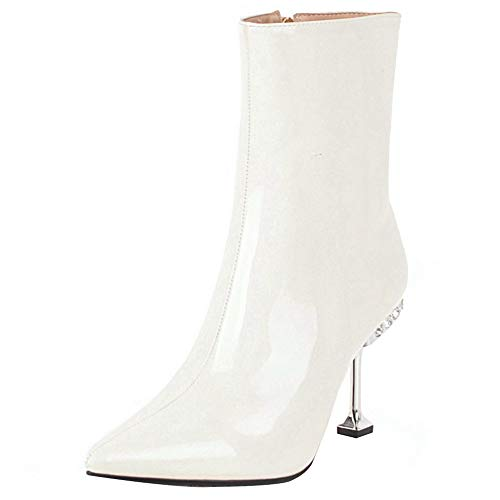 COOLCEPT Damen Mode High Heels Short Stiefel Pointed Toe Wedding Ankle Stiefel Solid Herbst Short Stiefel White Gr 35 Asian