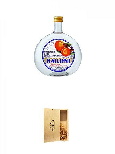 Bailoni Gold Marillen Schnaps Österreich 0,7 Liter + 1a Whisky Holzbox für 2 Flaschen mit Schiebedeckel